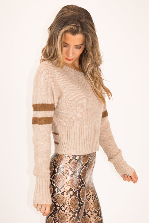 BEIGE STRIPED SLEEVE SWEATER