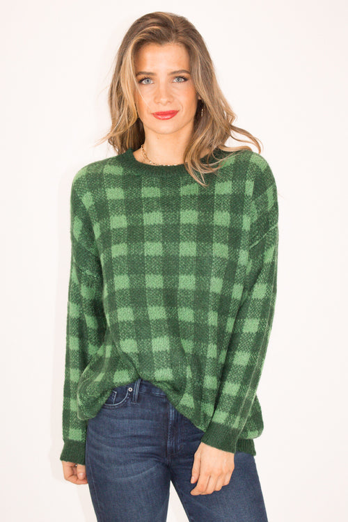 HUNTER GREEN PLAID SWEATER