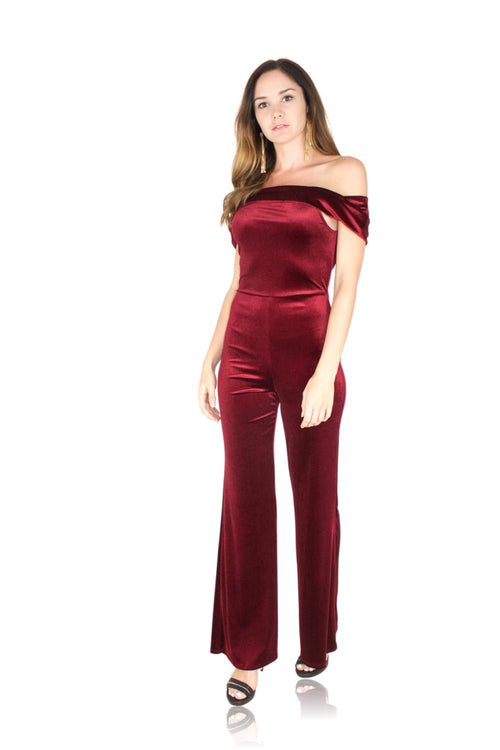 VELOUR DREAMS JUMPSUIT IN BURGUNDY