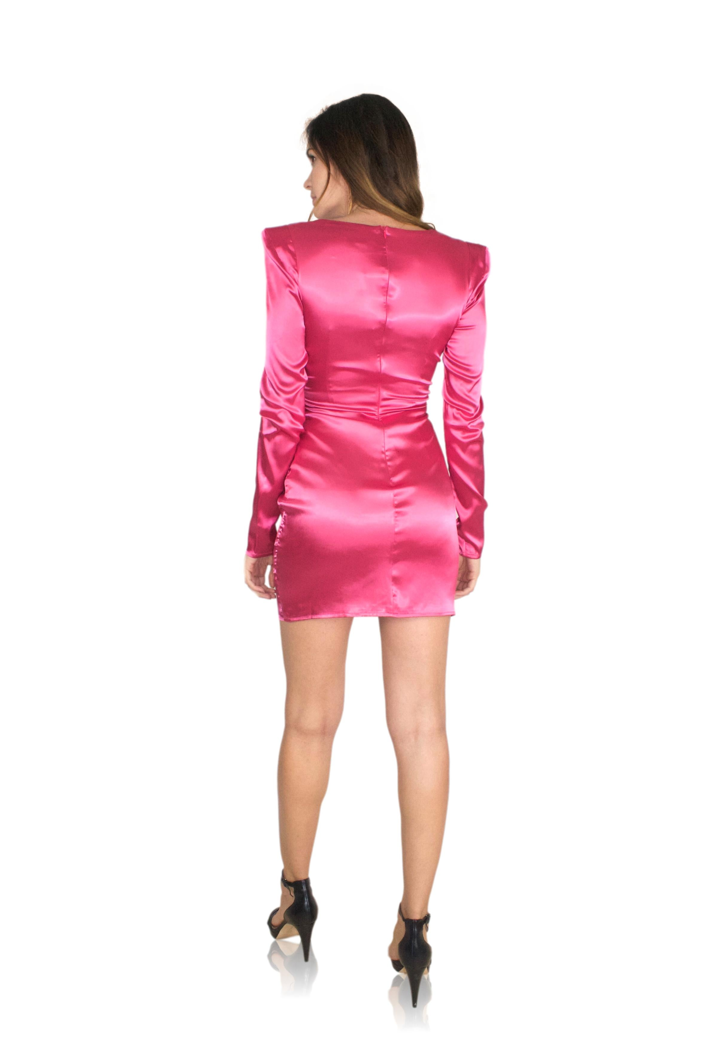 TWIST MINI DRESS IN HOT PINK