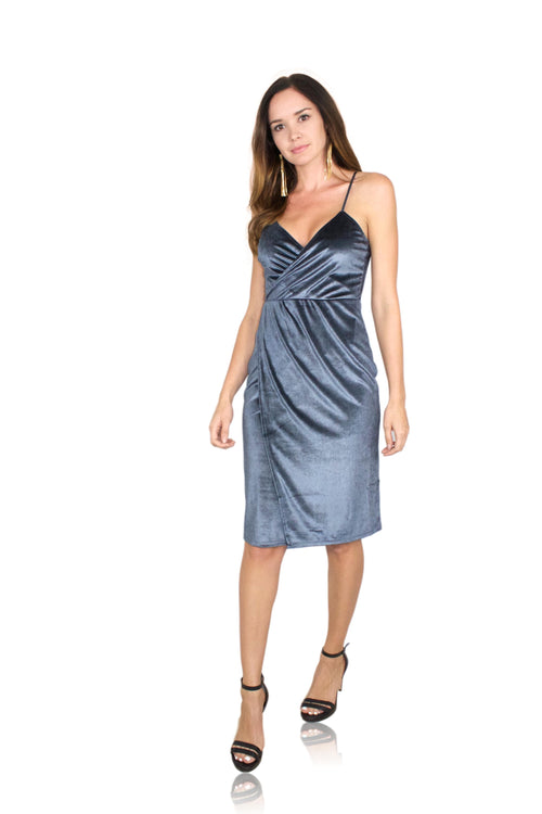 CROSSOVER MIDI DRESS IN MOON BLUE