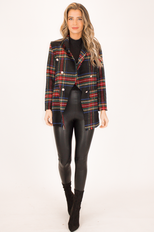 TWEED PLAID BLAZER