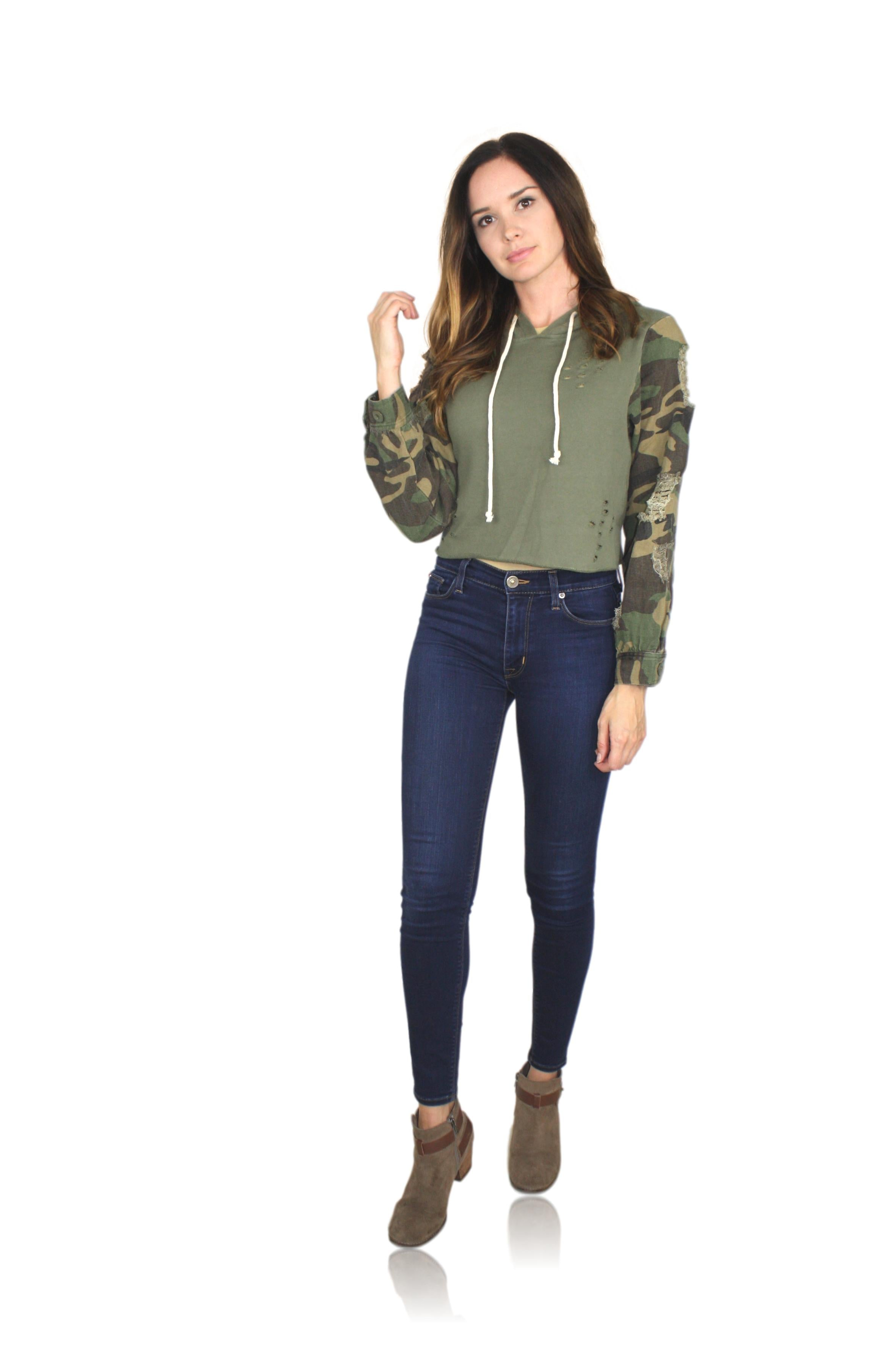 DISTRESSED CAMO HOODIE