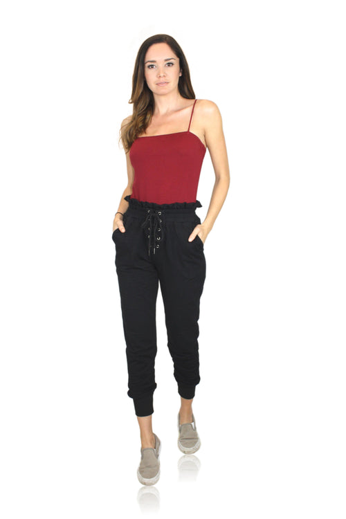 BLACK LACE UP HIGH WAIST JOGGERS