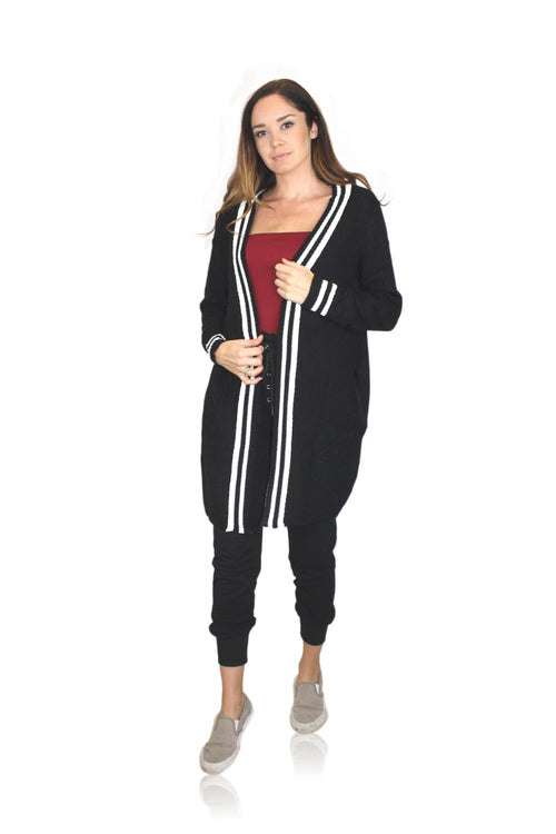 BLACK CARDIGAN WITH STRIPE BAND DETAIL