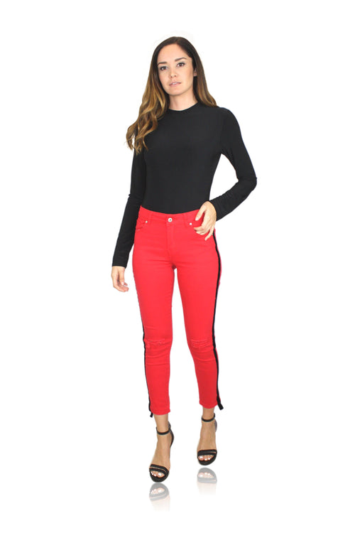 BLACK VELVET STRIPE PANT IN RED