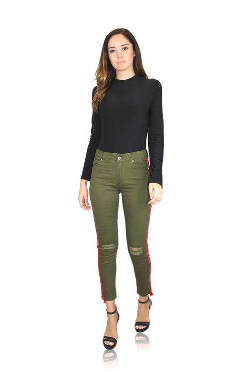 RED VELVET STRIPE PANT IN OLIVE