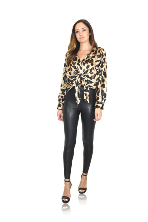 LEOPARD TIE FRONT TOP / FINAL CLEARANCE