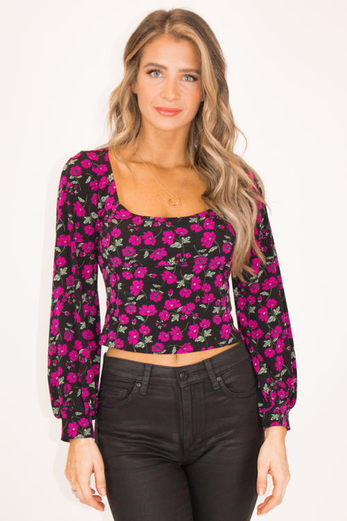 MAGENTA FLORAL SQUARE NECK TOP
