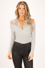 LACE DETAIL SWEATER IN GREY
