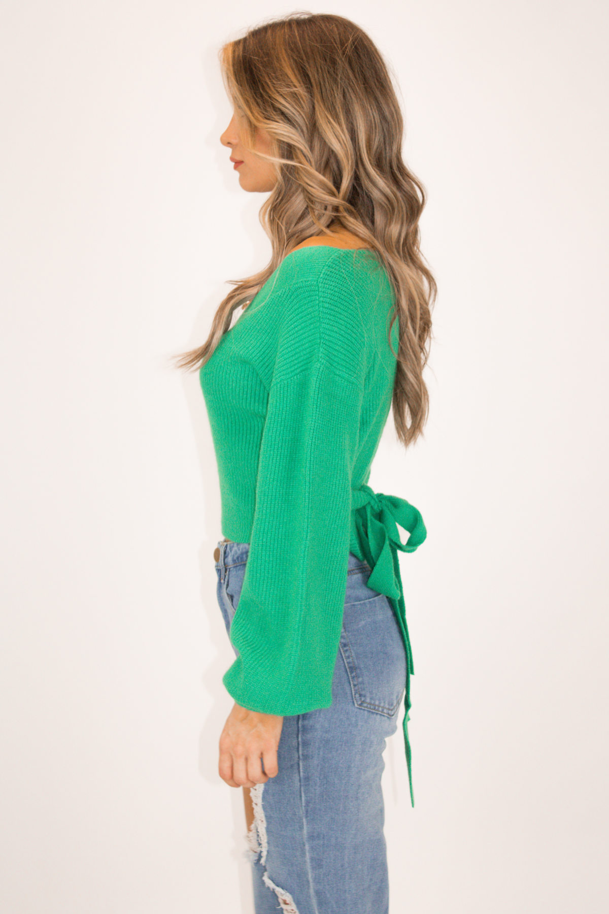 EMERALD GREEN WRAP SWEATER