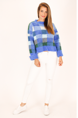 SUPER SOFT BLUE PLAID SWEATER