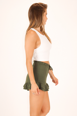 SLEEVELESS X BACK CROP WITH TIE BACK