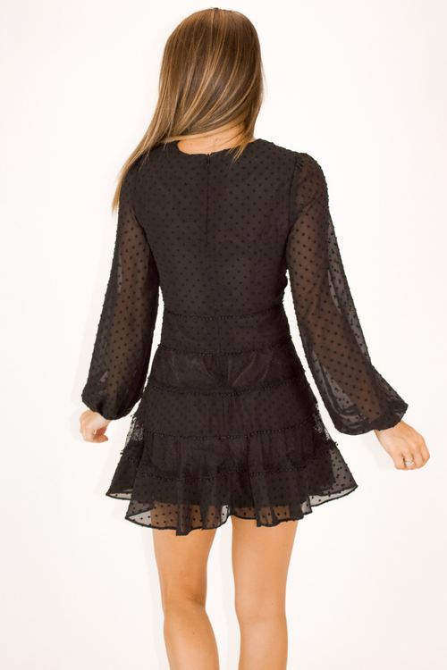 BLACK LACE TRIM DETAILED DRESS