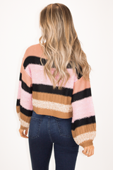 BLUSH + LAVENDER STRIPE SWEATER