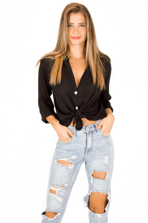 BUTTON DOWN TIE FRONT TOP IN BLACK