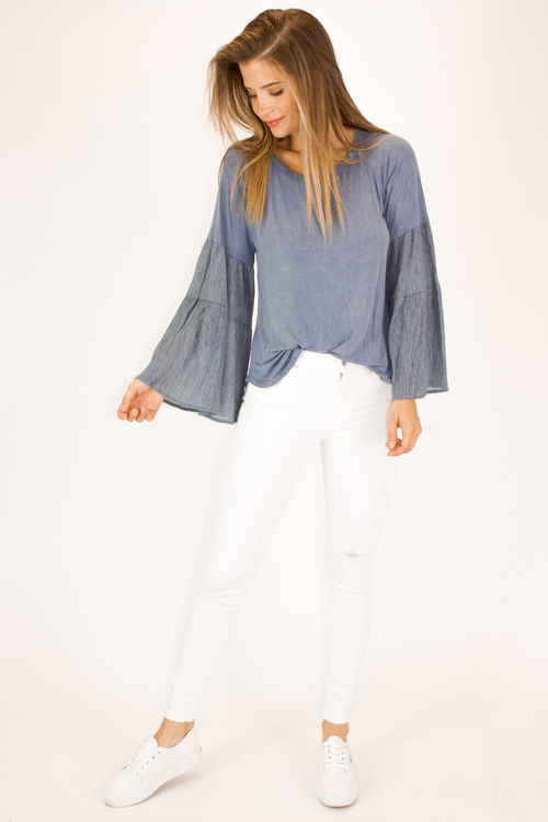 BELL SLEEVE DUSTY BLUE TOP