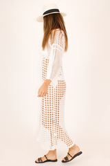 WHITE KNIT MAXI COVER UP