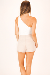 ONE SHOULDER HIGH-QUALITY BODYSUIT IN WHITE