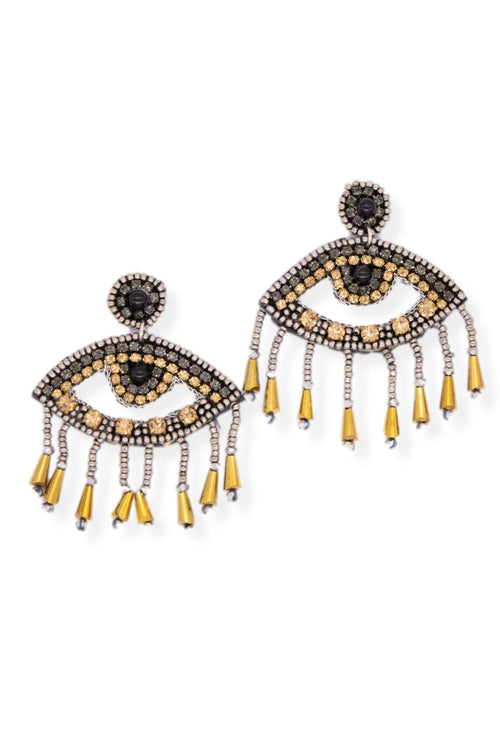 BEADED EVIL EYE STATEMENT EARRING