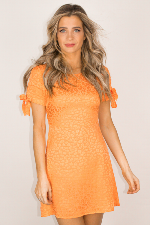 ORANGE LEOPARD TEXTURE MINI DRESS