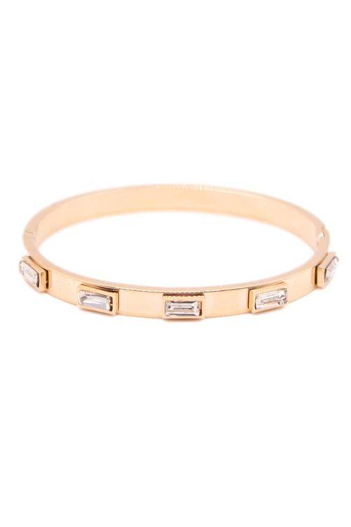 ROSE GOLD STAINLESS STEEL BANGLE WITH DIAMOND ACCENTS