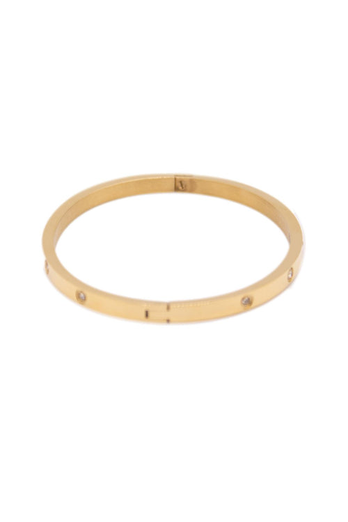 SMALL GOLD STAINLESS STEEL BANGLE WITH DIAMONDS