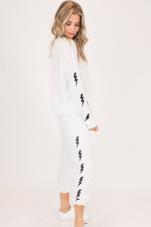 BOLT GRAPHIC SWEATPANTS IN WHITE