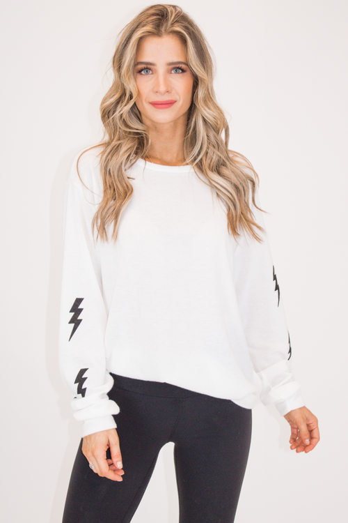 BOLT SLEEVE PULLOVER IN WHITE