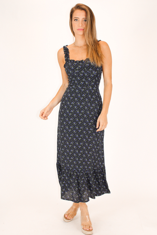 BLACK AND NAVY FLORAL MAXI
