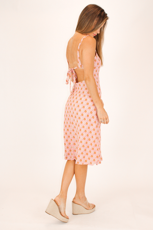 PINK OPEN BACK MEDALLION DRESS