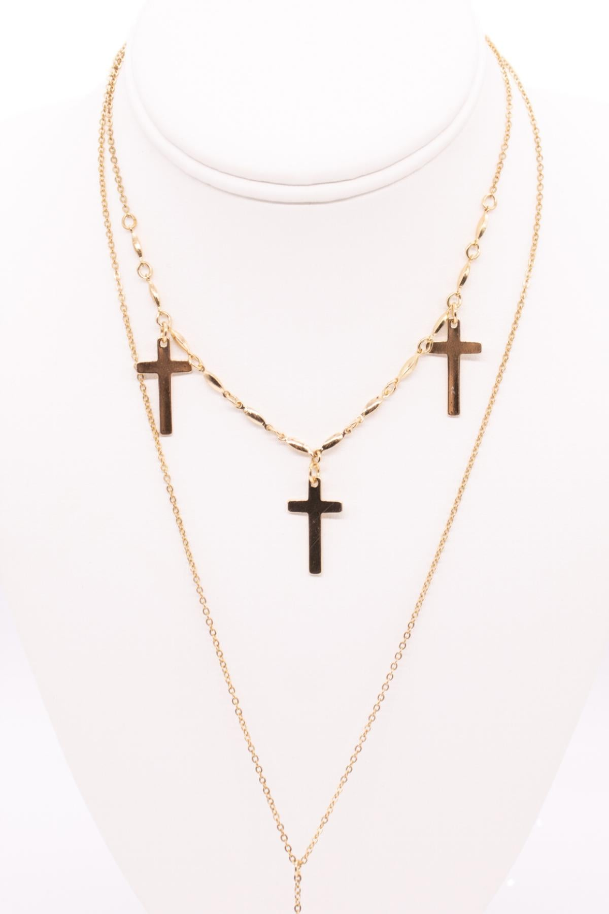 GOLD DOUBLE CROSS NECKLACE