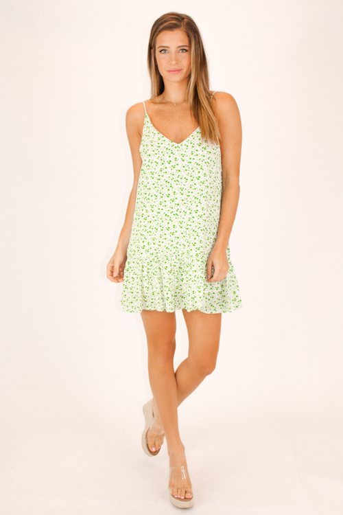 GREEN BLOOM MINI DRESS