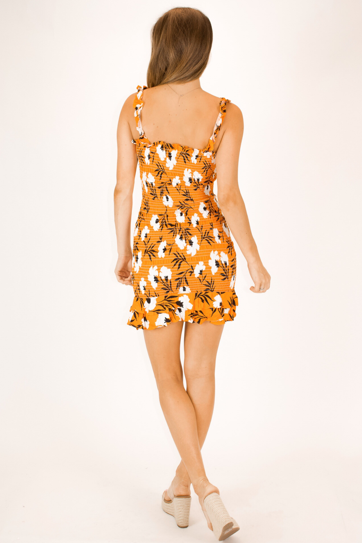 ORANGE BLOSSOM SMOCKED MINI DRESS