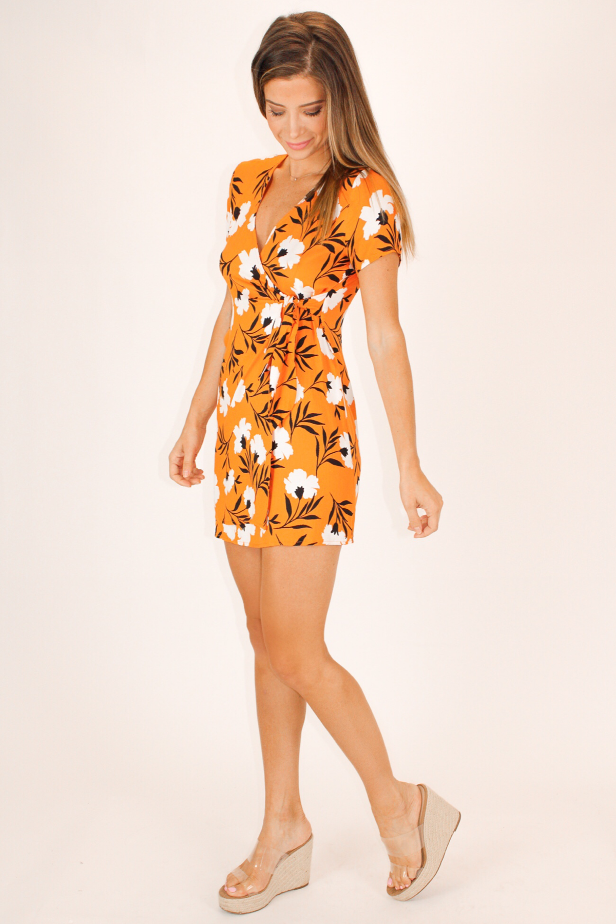 ORANGE FLORAL WAIST TIE DRESS