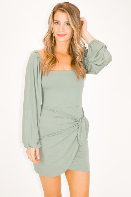 SAGE LONG SLEEVE WRAP DRESS