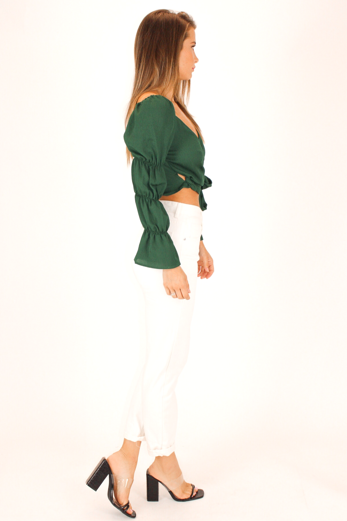 MARIE SLEEVE WRAP TOP IN FOREST GREEN