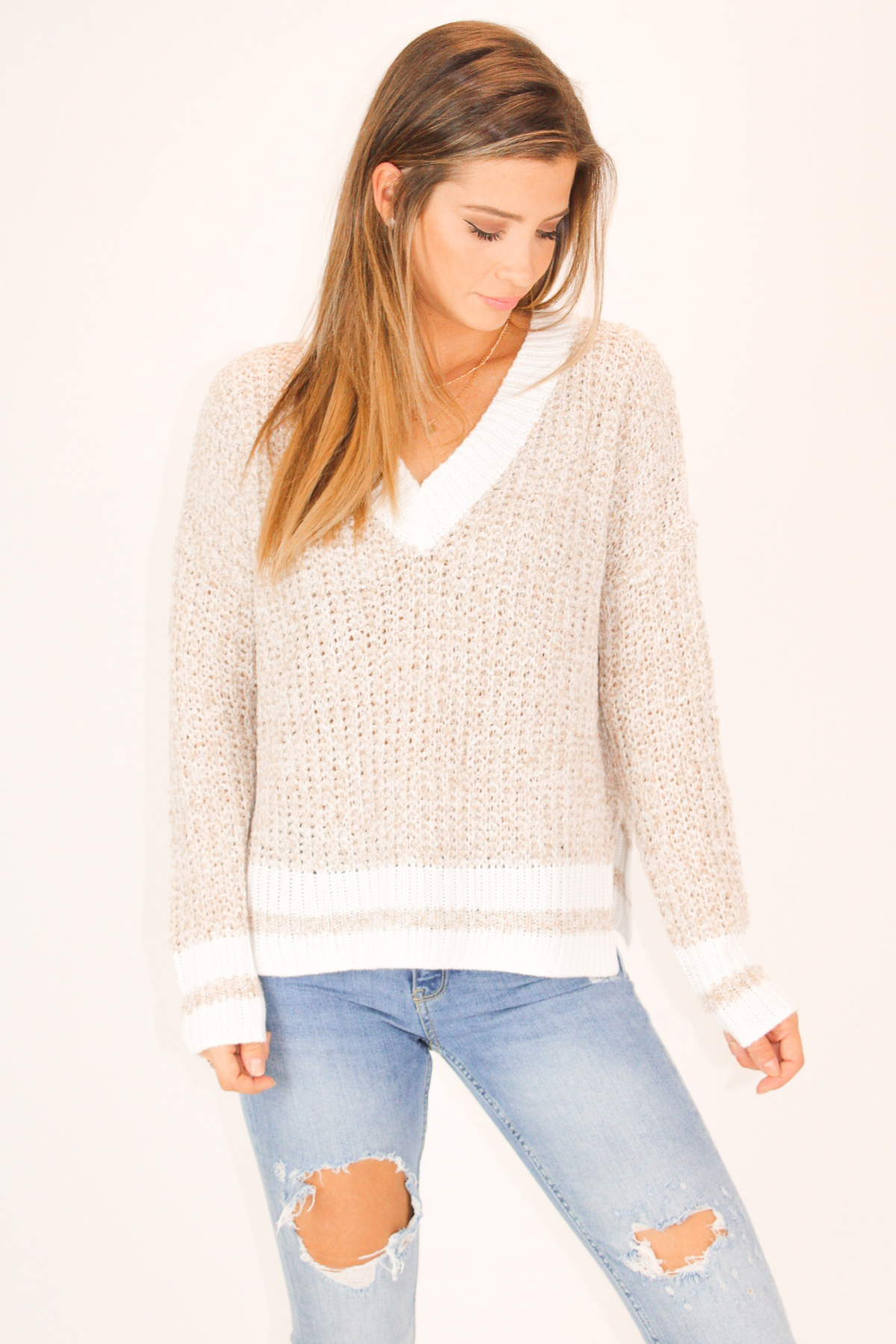 OATMEAL KNIT TWO TONE SWEATER