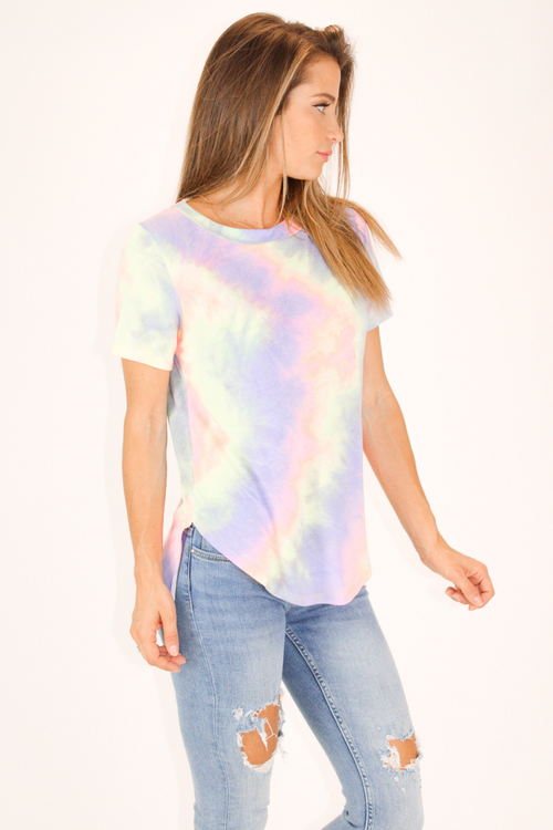 CAGE BACK TIE DYE TEE