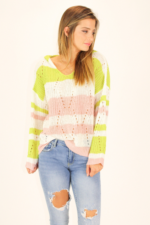 LIME CONTRAST STRIPED HOODIE SWEATER