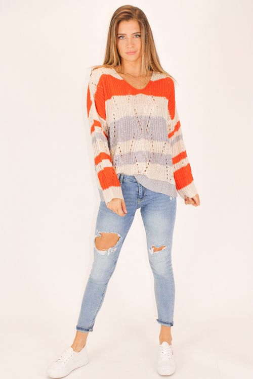 MANGO CONTRAST STRIPED HOODIE SWEATER