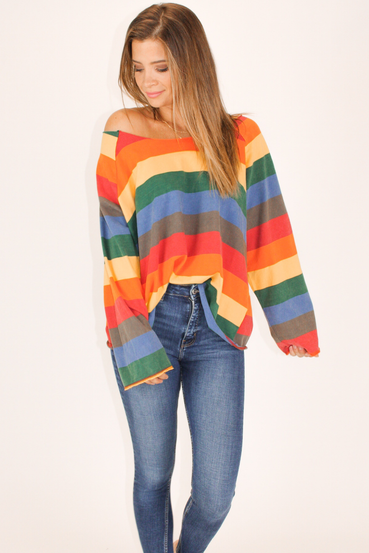 RAINBOW STRIPE TERRY TOP