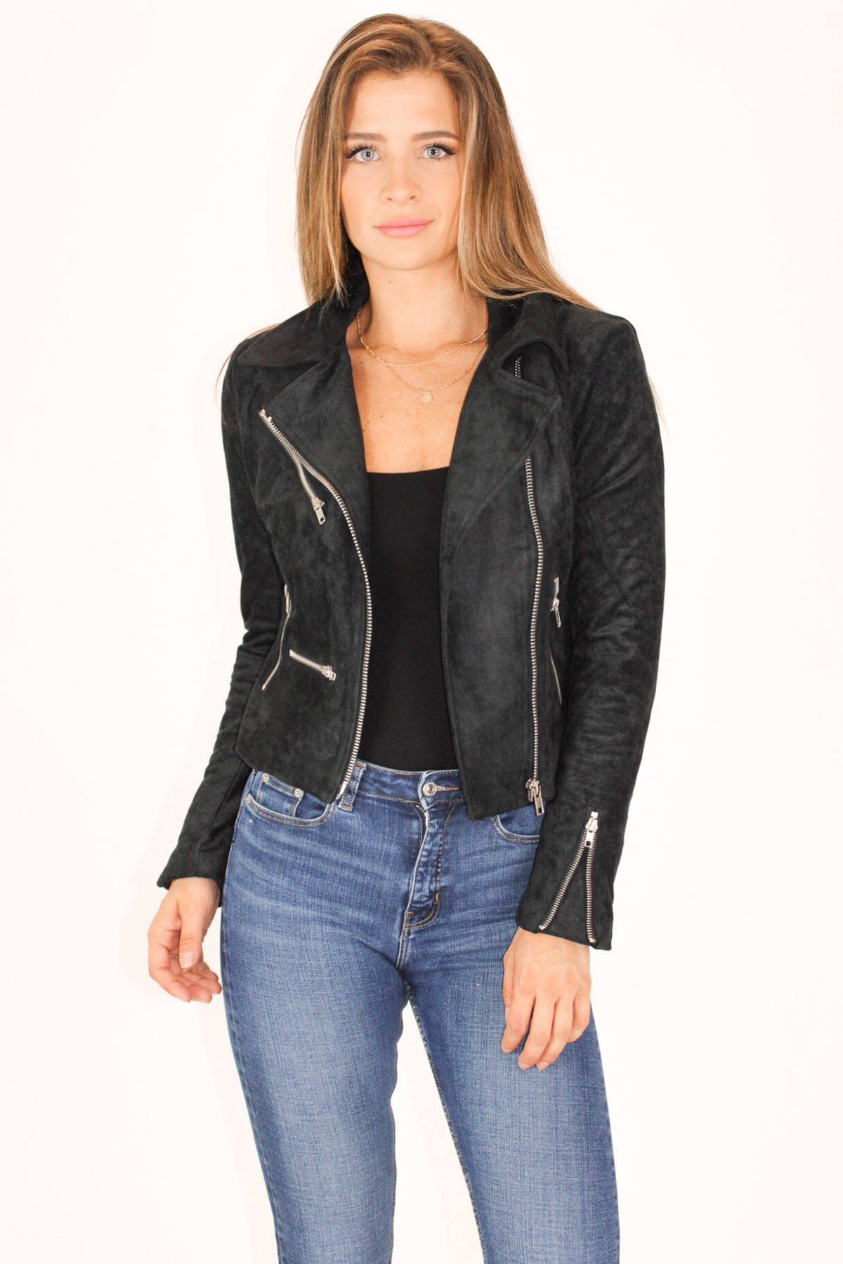 THE PERFECT BLACK SUEDE ZIPPERED JACKET