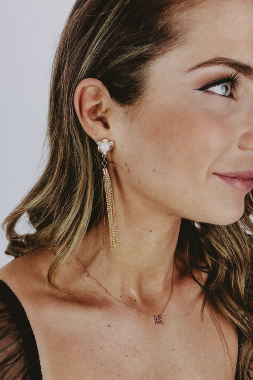 PEARLY ROSE TASSEL EARRINGS