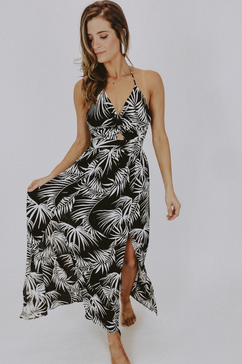 JUNGLE PRINT HALTER MAXI DRESS