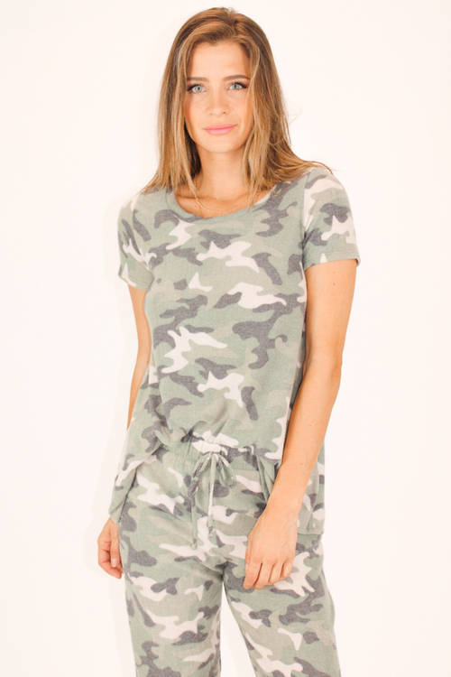 SUPER SOFT CAMO KNIT TOP