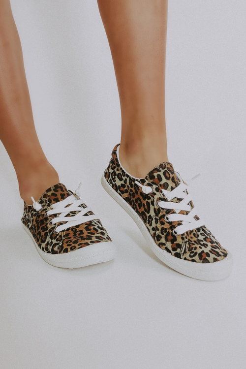 LEOPARD SOFT CANVAS SNEAKERS