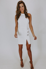 BUCKLE HALTER DRESS IN WHITE
