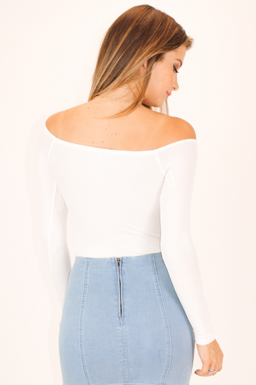 RIBBED OFF SHOULDER BODYSUIT IN WHITE