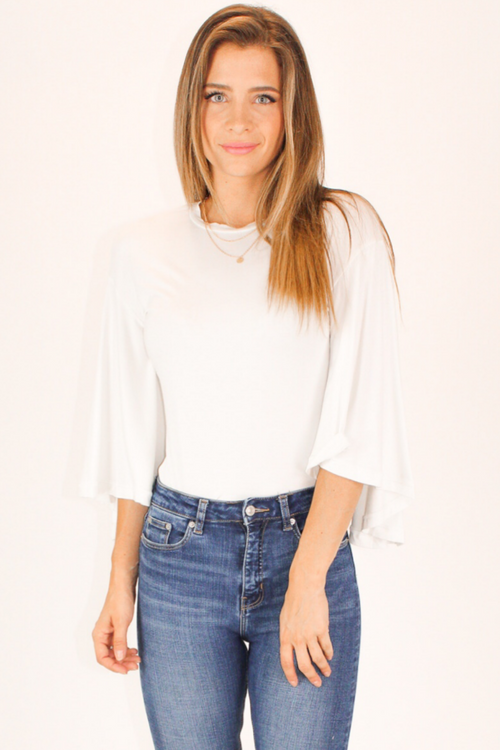 BELL SLEEVE TEE BODYSUIT IN WHITE